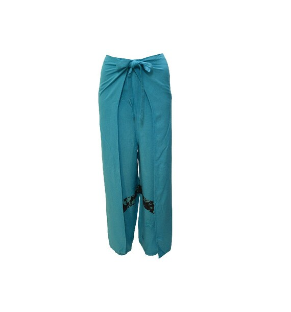 Womens Ladies Overlay Wrap around Embroidered Retro print Wide Leg Trousers Sarong Pants Freesize 10 Up To 18 Turquoise