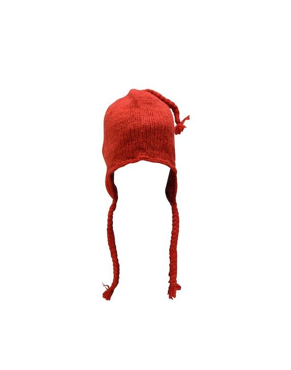 Handmade Knit 100% Wool Unisex Bobble Short Tassel Boho Warm Fleece Lined Winter Hat Red
