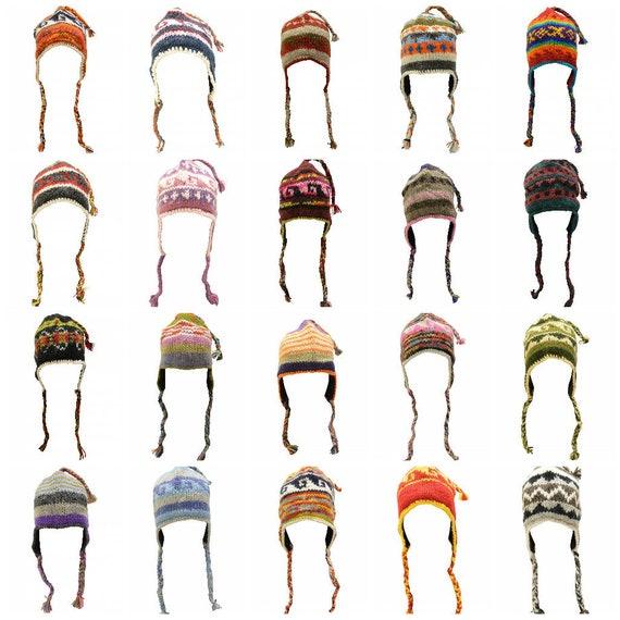 Handmade Knit 100% Wool Unisex Bobble Short Tassel Boho Warm Fleece Lined Winter Hat P56-P62