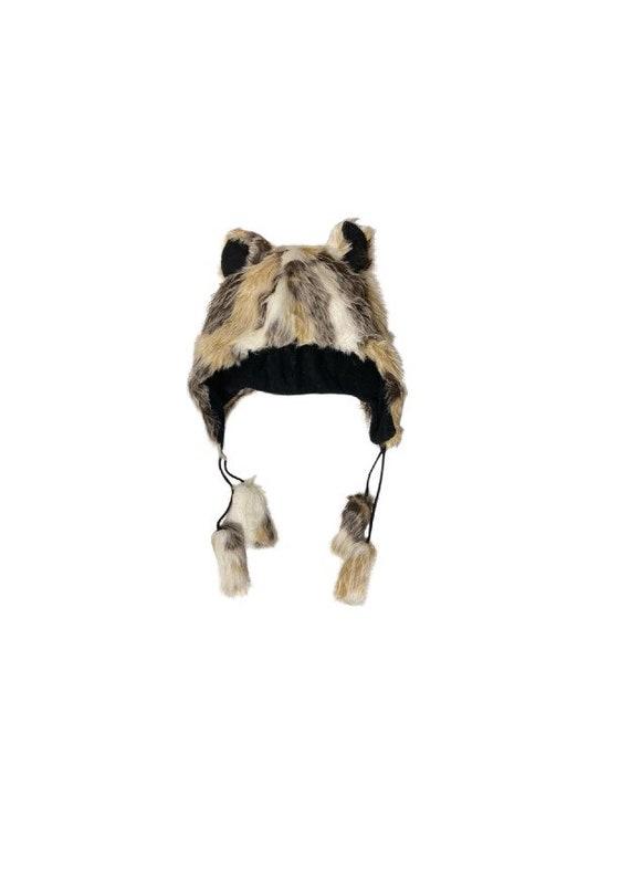 Handmade Funky Winter Faux Fur Wild Unisex Animal Ears Tassel Fleece Hat Multi