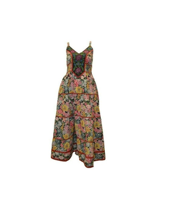 Cotton boho hippie sleeveless floral vintage style embroidered panelled maxi dress free size up to size 14 P12