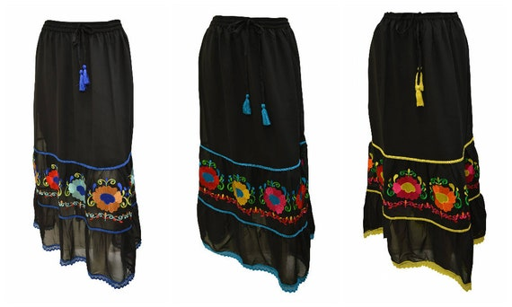 Womens Ladies Boho Skirt Embroidered Peasant Floral Maxi Lace Trim Free Size 10 to 18