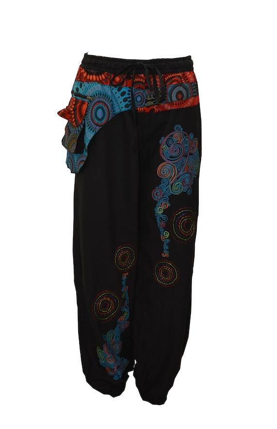 Plus Size Cotton Lounge Wear Boho Hippie Abstract Elasticated Side Pocket Harem Pants