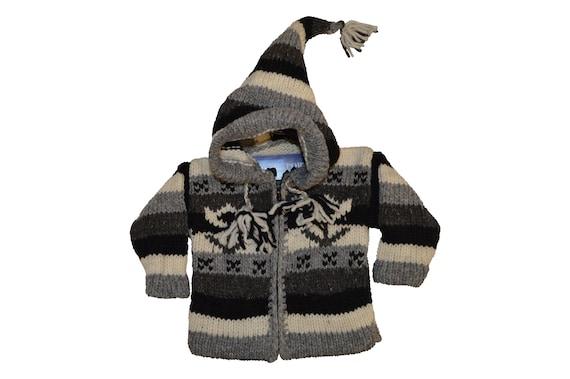 Kids baby boho hippie pixie hooded nomad aztec ethnic 100% wool zip fleece coat jacket p38