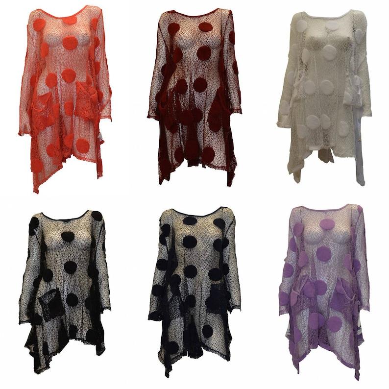 Boho Hippie Lagenlook Dress Vintage Style Long Sleeve Crochet image 0