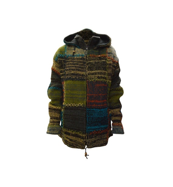Handmade 100% Wool Chunky Knit Unisex Cardigan Jacket Boho Fleece Lining warm Hoodie Grey Multi