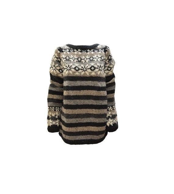Handmade 100% Wool Chunky Knit Bohemian Print Sweater Long Bell Sleeves Cosy Winter Pullover Black/ Grey S/M L/XL