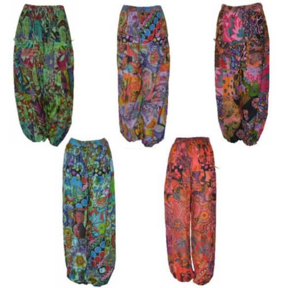 Free size hippie boho retro floral patchwork harem pant trouser XL
