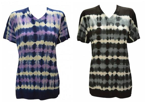 Reverse Tie-dye T-shirt Unisex Casual V- neck Short Sleeve Festival Hippie Top Size M L XL
