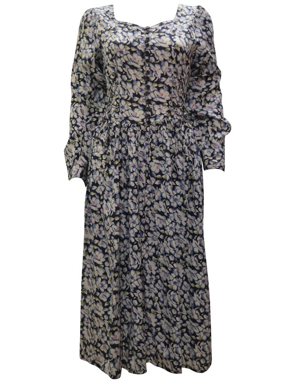 Boho hippie vintage buttoned long sleeve floral side tie maxi dress freesize 8-12 p1