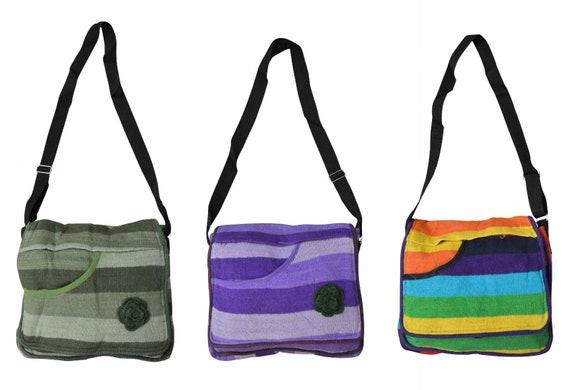 Boho hippie handmade cotton striped knitted floral nomad ethnic shoulder body sling bag medium