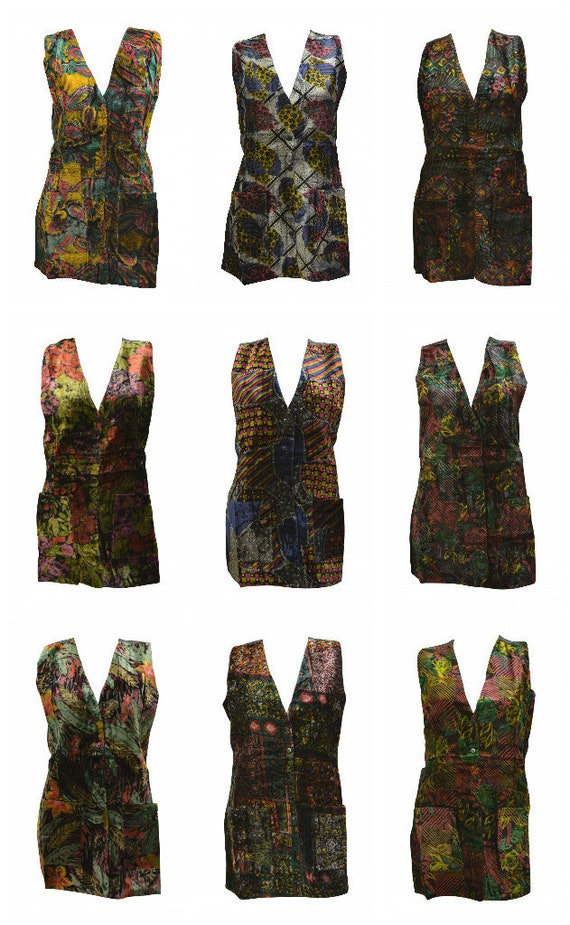 Recycled Retro Velvet Waistcoat Boho Vintage style Abstract Pattern Vest Free Size up to 14