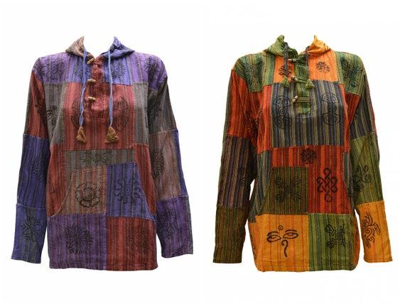 Womens Ladies 100% Cotton Hippie Patchwork Block print Kangaroo pocket Pullover  Poncho S/M XL XXXL