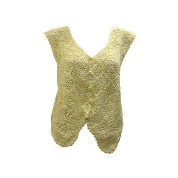 Boho hippie retro recycled vintage crochet cotton button up waistcoat freesize cream up to size 16