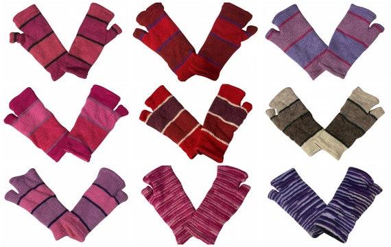 Handmade Knit Handwarmers 100% Wool Winter Striped Fingerless Fleece Lined Gloves One Size P68- P76