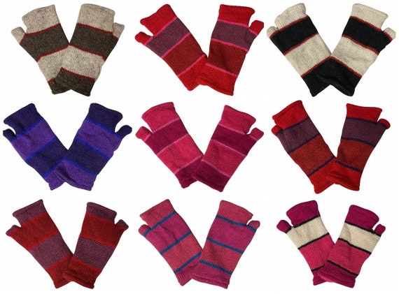 Handmade Knit Handwarmers 100% Wool Winter Striped Fingerless Fleece Lined Gloves One Size P49- P58
