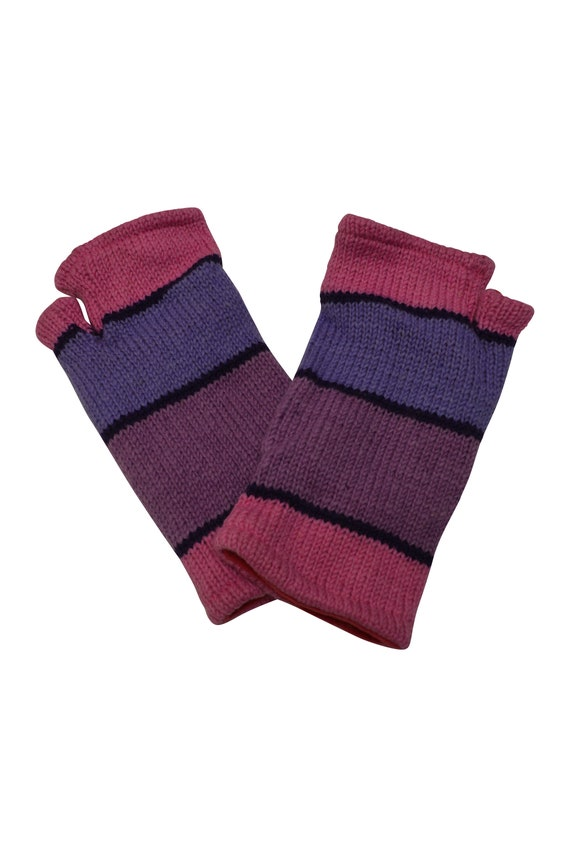 Handmade Knit 100% Wool Winter Fingerless Hand Warmers Fleece Lining Gloves One Size Pink/ Purple P23