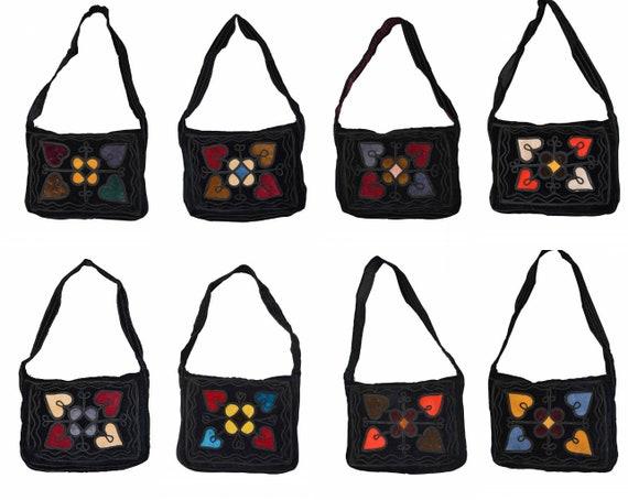 Handmade boho hippie recycled velvet across body shoulder bag embroidered purse p1 - p8