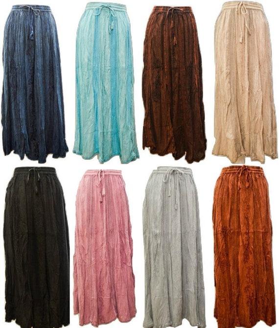 Boho Plus Size Skirt Semi Lace Embroidered Tone To Tone Hippie Gypsy Maxi Free size 10 - 22