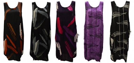 Womens Plus size Dress Abstract Print Funky Bubble Pocket Maxi Free size up to 24 P6-P10