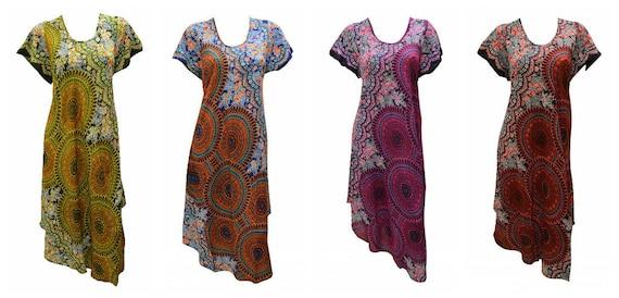 Womens Swing Dress Paisley Print High- Low Umbrella Pocket Short Sleeves Shift Free Size Up to 18
