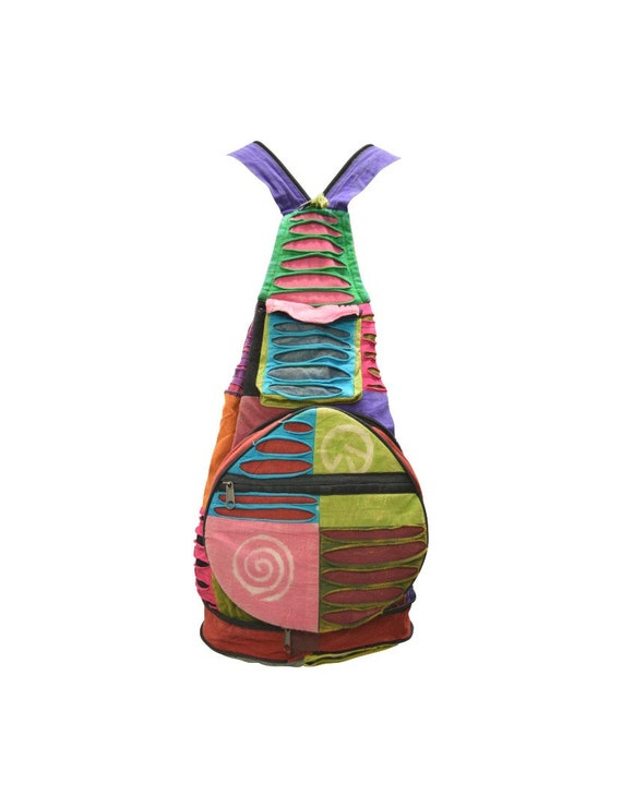 100% Cotton Recycled Hippie Patchwork Rucksack 2in1 Boho Pouch Peace Print Front Zip Pocket Shoulder bag P3