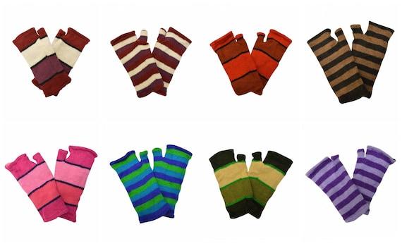 Handmade Knit 100% Wool Winter Striped Fingerless Hand Warmers Fleece Lining Gloves One Size P6-P13