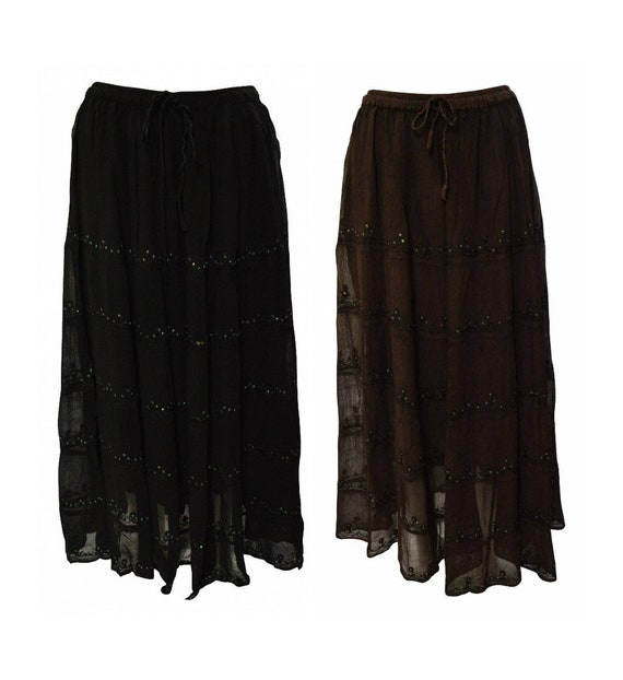 Womens Ladies Boho Floral Embroidered Tiered Gypsy Sheer Maxi Sequin Skirt Freesize Up To 18