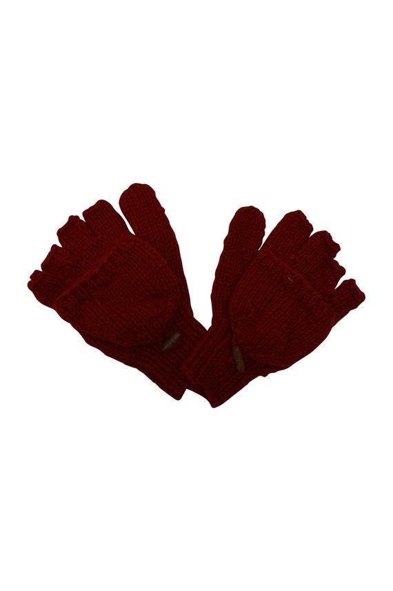 100% Wool Winter Knit boho Fingerless Mittens Fold back Covers Fleece Line Warm Cosy Gloves Red