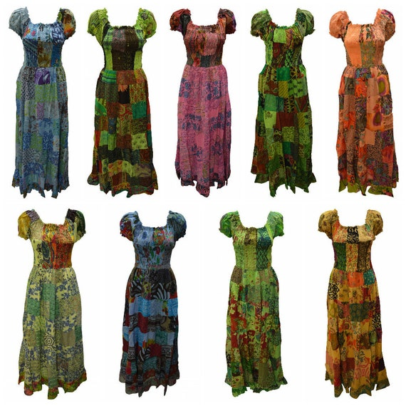100% Cotton Gypsy Dress Boho Vintage Style Patchwork Elasticated Short Sleeve Maxi Free size up to 16 P17-P25