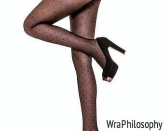 2b83acab5da Polka Dot Cosmopolitan Semi Sheer Black Tights