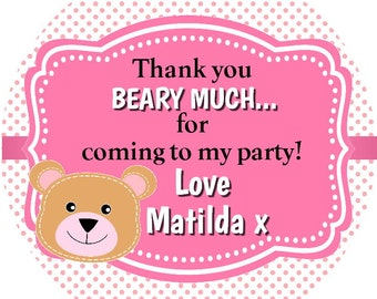 personalised fox party bag stickers thank you for coming 24 labels