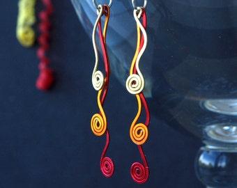 aluminum earrings, aluminium earrings, handmade aluminum earrings, party aluminum earrings, PARTY POPPER, sterling silver earwires