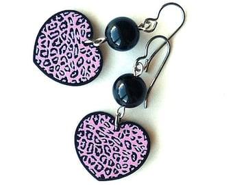 rockabilly heart earrings, kitsch leopard earrings, pink leopard print earrings,  ROCKABILLY LEOPARD, hypoallergenic titanium ear wires