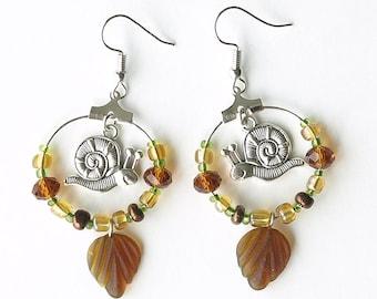 garden snail earrings, snails earrings, autumn snail earrings, fall snails earrings, snails, GARDEN SNAILS, stainless steel ear wires