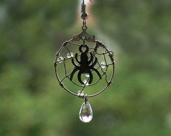 spider web earrings, cobweb earrings, spiders web earrings, spider cobweb, dew cobweb earrings, MORNING DEW, stainless steel ear wires