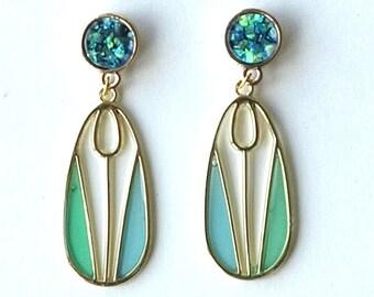 art deco earrings, art deco tulip earrings, art deco opal earrings, art deco stained glass earrings, art deco, TULIP MANIA, alloy posts