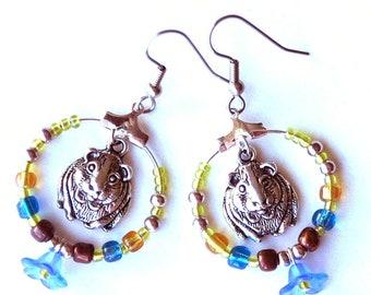 guinea pig earrings, guinea pig  hoop earrings, guinea pig earrings cute, guinea pigs earrings, PRETTY PIGGIES, stainless steel ear wires