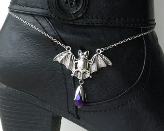 bat boot chain, gothic boot chain, gothic boot bling, gothic boot bat, boot bling, BAT BOOT BLING, stainless steel chain
