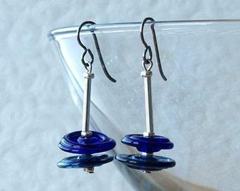 glass disk earrings, glass disc earrings, blue glass disc earrings, MINIMALIST, hypoallergenic titanium earwires