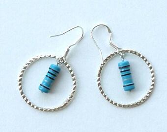resistor earrings, resistor earrings geek, geek earrings, geek reisitor earrings, resistor, IRRESISTABLE, sterling silver earwires