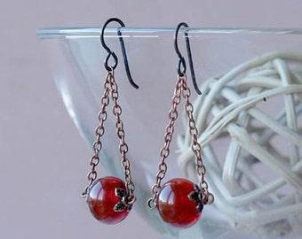 trapeze earrings, copper chain trapeze earrings, CHERRY TRAPEZE, hypoallergenic niobium earwires