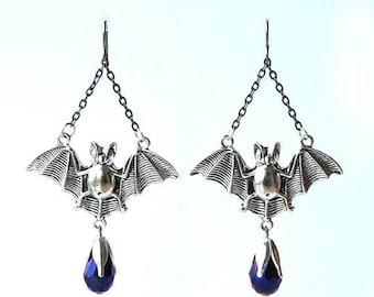 bat earrings, bat earrings halloween, bat earrings gothic, bat earrings goth, HALLOWEEN BATS, hypoallergenic titanium earwires
