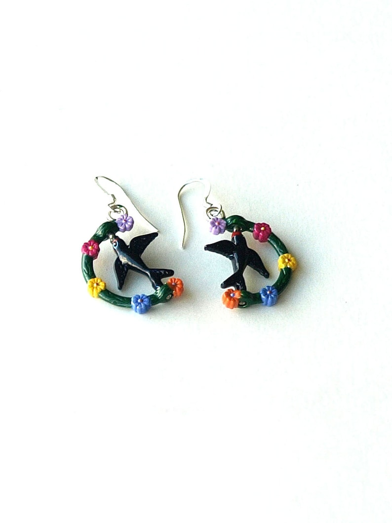 swallow earrings fidelity swallow earrings ROMANCE sterling silver ear wires swallow earrings love swallow earrings romantic