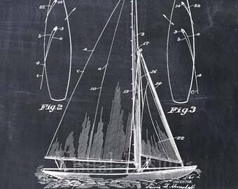 Sailboat Patent Print Sailboat Patent Art Print