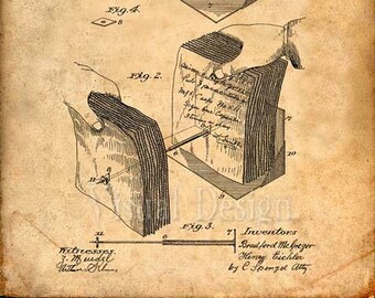 Paper File Patent Print File Cabinet Patent Art - Patent Print - Patent Poster - Office Art - Office Supplies