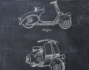 Vespa Scooter Patent Print, Scooter Wall Art, Scooter Print, Vespa Scooter Art Print, Vespa Decor