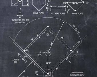 Baseball Coach Gift, Baseball Decor, Baseball Field Diagram, Baseball Patent Print, Baseball Wall Art Gift, Boys Room Decor,Girls Room Decor