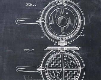 Patent Print of a Waffle Iron, Patent Art Print, Patent Poster, Kitchen Art, Cooking Art, Restaurant Art, Kitchen Gift