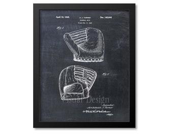 Baseball Glove Leather Mitt Sports Patent Wall Art Print Size and Frame Options